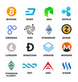 criptocurrency icon set vector image vector image