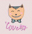 cute kitten with pink heart loving cat can be vector image vector image