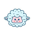 cute sheep lamb face modern line vector image