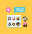 delicious donuts on colorful yellow background vector image