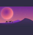 desert landscape during the night vector image vector image