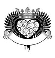 engraved decorative heart with wings crown and vector image