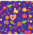 Funny seamless floral pattern with cat vector image vector image