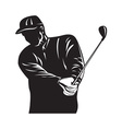 Golfer Swinging Club Black and White Retro vector image