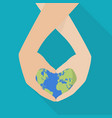 hands holding earth globe concept vector image