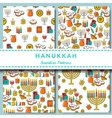 Hanukkah seamless pattern collection Hanukkah vector image vector image