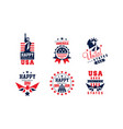 happy independence day bright badges collection vector image vector image