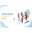 isometric stand up or standing meeting concept vector image vector image