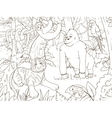 Jungle animals cartoon coloring book vector image