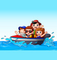 kids riding a motor boat in the ocean vector image