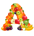 letter a made from fruit vector image vector image