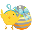 little chick with easter egg vector image vector image
