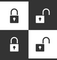 lock and unlock icon set on black and white vector image