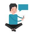 man using mobile speech bubble social media vector image vector image