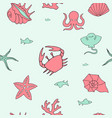 marine color seamless background with pictures vector image vector image