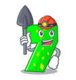 miner cartoon number seven on stone wall vector image