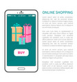 online shopping buy button on smartphone with gift vector image vector image