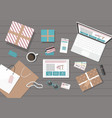 online shopping with digital tablet and notebook vector image vector image