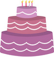 purple birhday cake vector image vector image