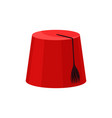 red fez with black tassel national turkish vector image vector image