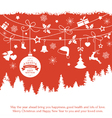 Red monochrome Christmas ornaments fir vector image vector image