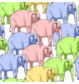 seamless background of colored elephants vector image
