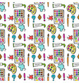 Seamless colored back to school pattern with