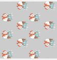 seamless pattern christmas snowman on grey vector image