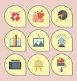 set art icons in flat design atist ink graphic vector image vector image