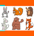 set cartoon wild animal characters vector image vector image
