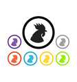 Set of colorful round icons of cocks vector image vector image