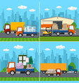 set of transport logistics and storage services vector image vector image