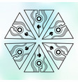 six symmetrically arranged triangles separated vector image vector image