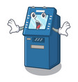 surprised atm machine next to character table vector image vector image
