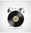 vinyl record on dial alarm clock vector image