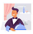 waiter with a dish flat vector image vector image