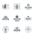 walnut food logo set simple style vector image