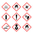 Warning labels of chemicals - icon set vector image vector image