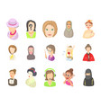 woman avatar icon set cartoon style vector image