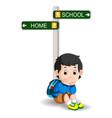 boy with sign street cartoon vector image