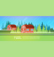 farm house barn building field farmland vector image