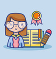 teacher woman with school tools education vector image