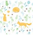 Childish animals pattern vector image
