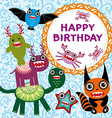 Funny monsters party card design vector image