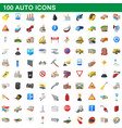 100 auto icons set cartoon style vector image vector image