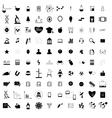 100 black education icons set