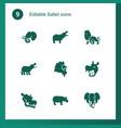 9 safari icons vector image vector image