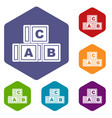 Abc cubes icons set hexagon