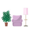 armchair and floor lamp with monstera houseplant vector image
