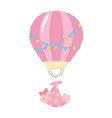 baby shower flying little girl with blanket air vector image vector image